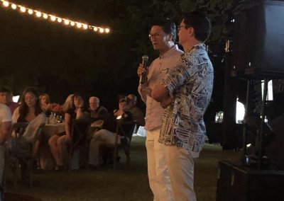 Andrew and Scott Larson, owners of GA Larson, speak at the farewell dinner.