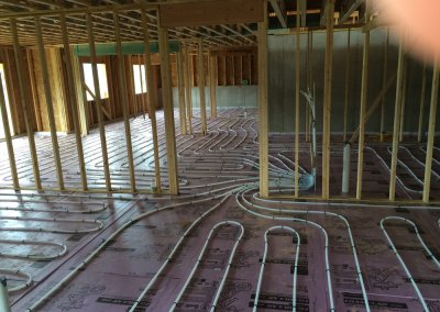 In-floor heat pex tubing layout.