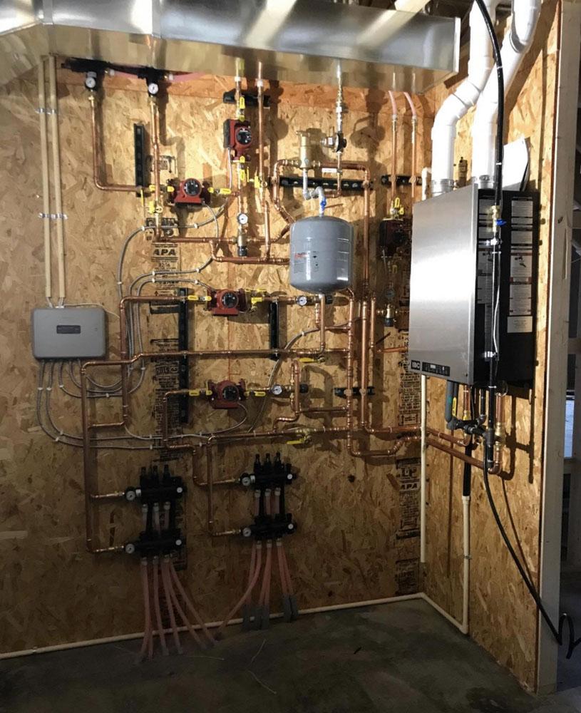 Boiler system installed for in-floor heat.